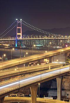highway and bridge at night