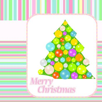stylized Christmas ball and Christmas tree on decorative background