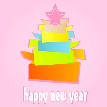 Origami New Year Tree. christmas holiday vector card