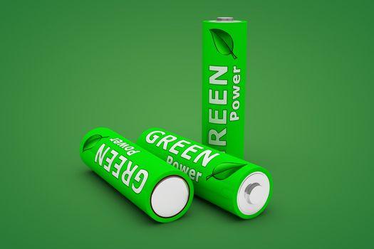 Three Green Eco Batteries on Green