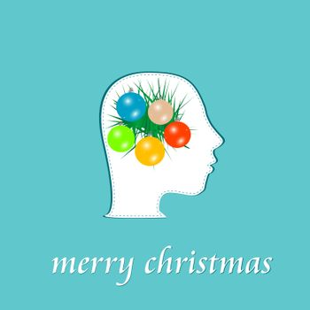 vector merry christmas symbol in human head