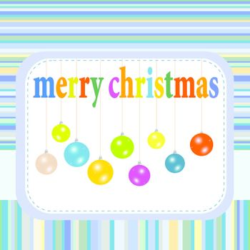 Christmas balls hanging with ribbons. new year greetings card. vector