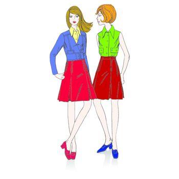 Two fashion  beautiful  girls standing nearby
