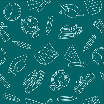Seamless pattern of hand drawn school objects.