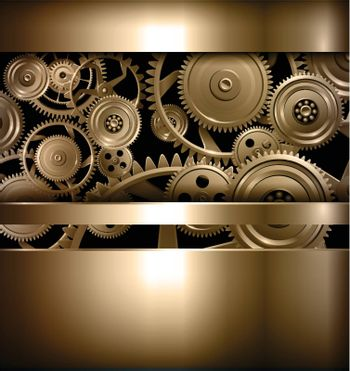 Technology background metallic gears and cogwheels, vector.