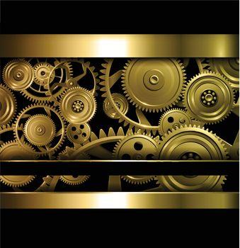 Technology background gold metallic gears and golden cogwheels, vector.