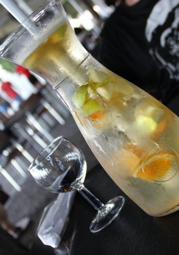 White wine sangria with oranges and apples