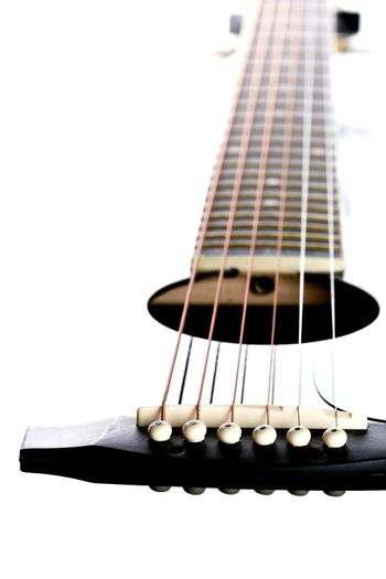 Strings on a guitar.