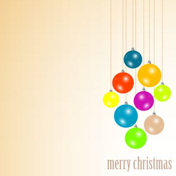 Merry christmas balls hanging with ribbons. vector background