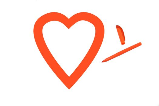 Heart shape colored orange by office highlighter on white background