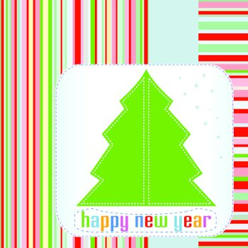 Christmas tree with Happy New Year greetings. vector backgrounds