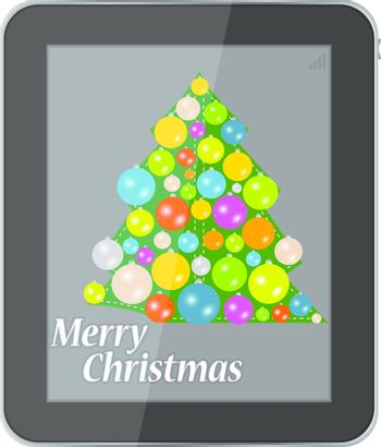Christmas card in smartphone isolated on a white background. Vector illustration.