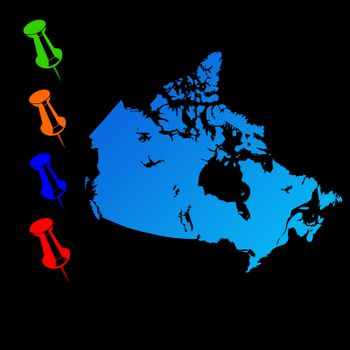 Canada travel map with push pins on black background.