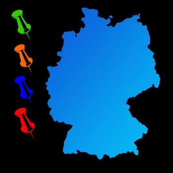 Germany travel map with push pins on black background.