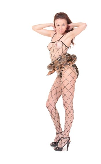Erotic Woman with a Boa