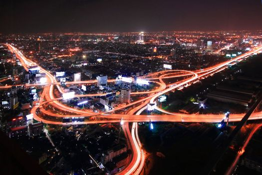 Thailand Expressway and Highway top view at dusk