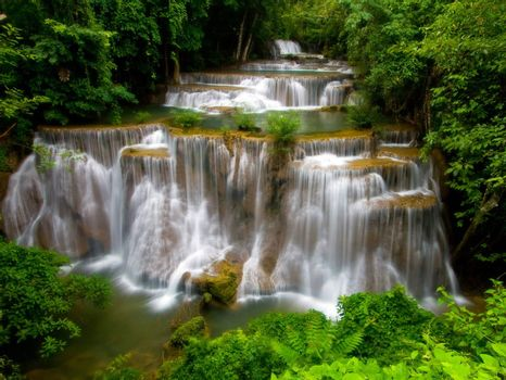 Huay Mae Khamin-Paradise Waterfall located in deep forest of Thailand