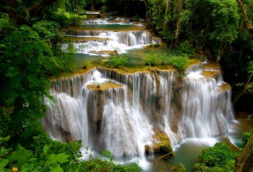 Huay Mae Khamin Waterfall, Paradise waterfall in deep jungle of Thailand