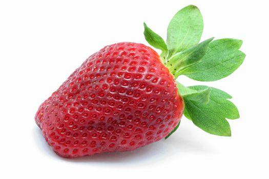 macro shot of Strawberry isolated over white background