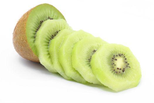 sliced Kiwi fruit on white background