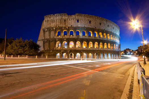 colosseum at night famous landmark of Rome Italy