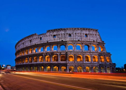 Colosseum at dusk with Light Trail, Rome