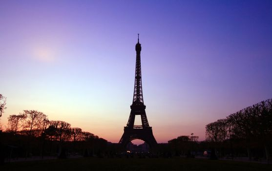 Silhouette of Eiffel Tower in the evening. The Eiffel tower is the most visited monument of France.