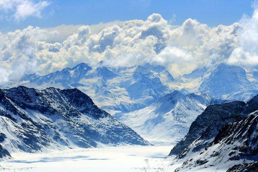 Great Aletsch glacier the highest glacier alps in switzerland