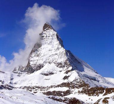 Matterhorn, logo of toblerone chocolate, located in Switzerland
