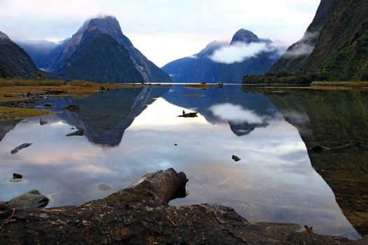 landscape of high mountain glacier at milford sound, New Zealand