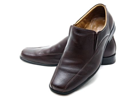 luxury brown leather man shoes on a white background