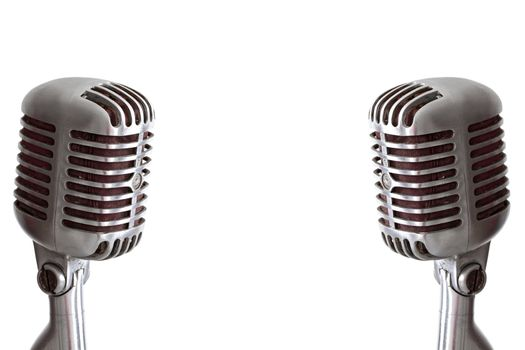 vintage microphone isolated on white with copy space for your design