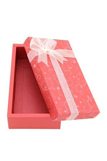 perspective of isolated open red holiday gift box, vertical