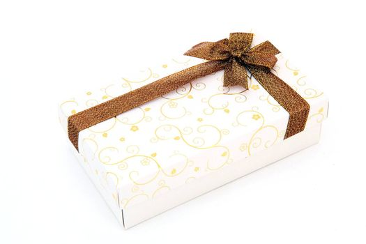 perspective of isolated cream holiday gift box