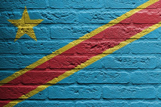 Brick wall with a painting of a flag, The Democratic Republic of