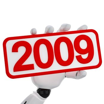 The robotic hand hold a plate with 2009 number