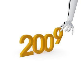 Robotic hand making number 2009