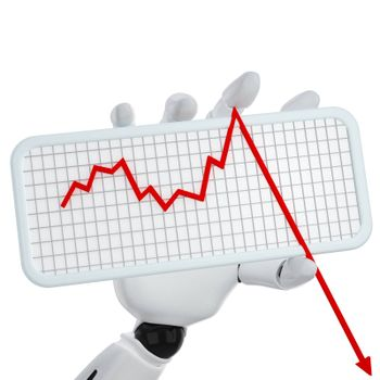 3d robotic hand hold a plate with graph