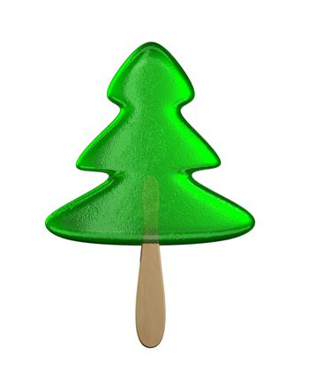 The caramel Christmas tree on the white background