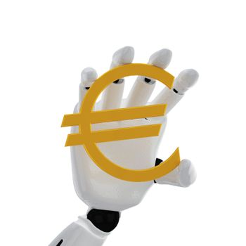"""The robotic hand hold the """"euro"""" sign"""