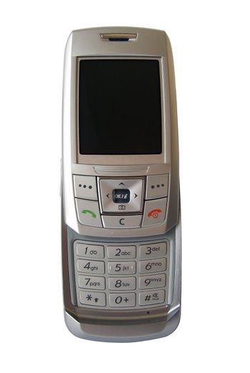 front of mobilephone isolated, with clipping path