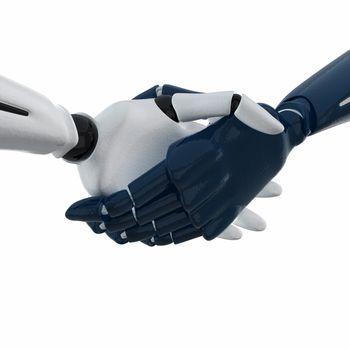 3D rendered handshake of 3d robotic hands.