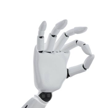 """a 3d robotic hand giving the """"okay"""" sign"""