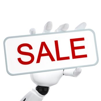 """The 3d robotic hand hold the plate with word """"sale"""""""