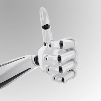 """a 3d robotic hand giving the """"yeah"""" sign"""