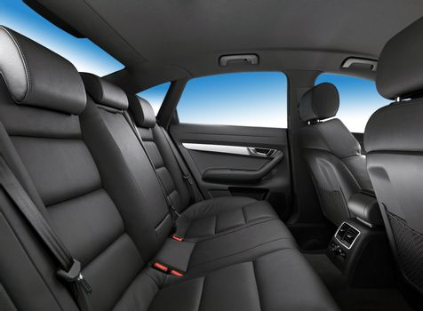 car interior, passenger places with leather
