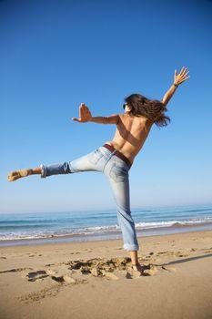 woman fighting at seashore