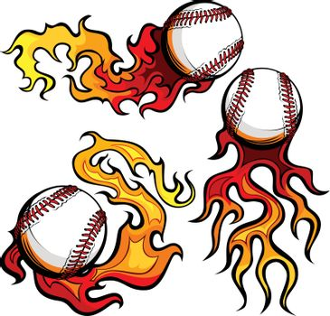 Baseballs with Flames Vector Images