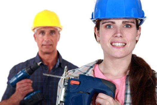 Apprehensive woman holding a jigsaw