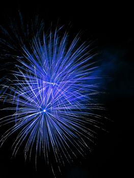 Long Exposure of Blue Fireworks Against a Black Sky